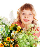 Beautiful girl with  wild flower. Stock Image