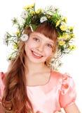 Beautiful girl with  wild flower. Stock Photos