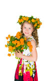 Beautiful girl and wild flowers Royalty Free Stock Image