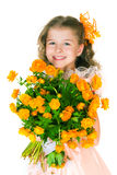 Beautiful girl and wild flowers Stock Images