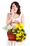 Beautiful girl with wild spring flower. Royalty Free Stock Image