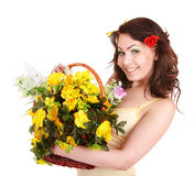 Beautiful girl with wild spring flower. Stock Photo