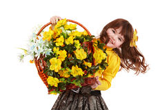 Beautiful girl with wild yellow flower. Stock Images