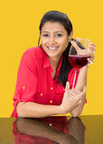 Beautiful girl with a wine glass Stock Images