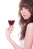 Beautiful girl with a wineglass Royalty Free Stock Images