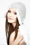 Beautiful girl with wing in hat Royalty Free Stock Photos