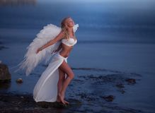The beautiful girl with wings. Sits on seacoast Royalty Free Stock Photography