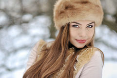 Beautiful girl in winter - close up Stock Images