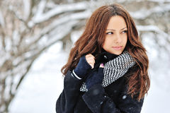 Beautiful girl in winter - close up Royalty Free Stock Photography