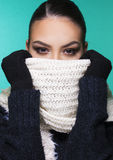 Beautiful girl in winter clothes. Beautiful girl having winter cold season symptoms concept royalty free stock photo