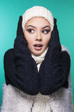 Beautiful girl in winter clothes. Beautiful girl having winter cold season symptoms concept royalty free stock photos