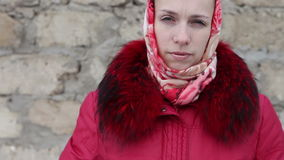 Beautiful girl in winter clothes stock footage