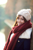 Beautiful girl in winter clothes smiling Stock Images