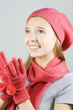 Beautiful girl in winter clothing Stock Images