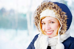 Beautiful girl in winter forest Royalty Free Stock Photo