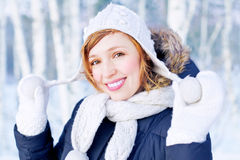 Beautiful girl in winter forest Royalty Free Stock Images