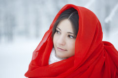 Beautiful girl in winter forest in red Royalty Free Stock Images