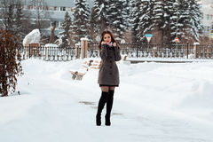 Beautiful girl in winter forest Stock Images