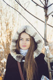 Beautiful girl in winter Stock Images