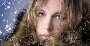 Beautiful girl in a winter fur collar Stock Images