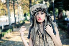 Beautiful girl with the winter hat on Stock Photos