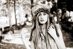 Beautiful girl with the winter hat on Stock Images