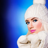 Beautiful girl in winter hat Stock Image