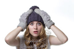 Beautiful  girl in winter hat on white background. Beautiful  girl in winter hat,  isolated on white background Stock Image