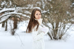 Beautiful girl in winter outdoor portrait Stock Photography