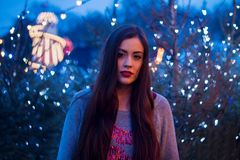 Beautiful girl in the winter outdoors. Christmas. Shallow depth Stock Photography
