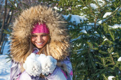 Beautiful girl in winter park Royalty Free Stock Photography