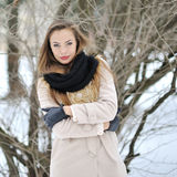 Beautiful girl winter portrait Stock Photos