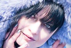 Beautiful girl winter portrait purple fur stock photo