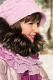 Beautiful girl in the winter poses Royalty Free Stock Image