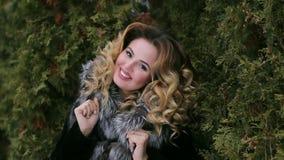 Beautiful girl in winter season.  stock video footage
