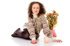 Beautiful girl in winter sweater Royalty Free Stock Photo