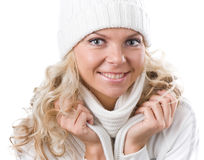 Beautiful girl in winter white hat Royalty Free Stock Images
