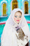 Beautiful girl in the winter. Beautiful girl with white headscarf in the winter Stock Photos