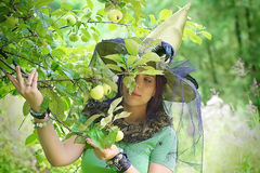 Beautiful girl in witch hat stock image