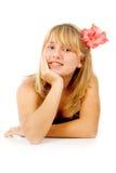 Beautiful Girl With A Beautiful Flower Stock Photo