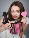 Beautiful Girl With A Box And Pink Heart Royalty Free Stock Photo