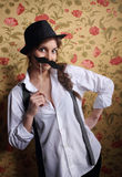 Beautiful Girl With A Cute Mustache Stock Photo