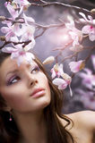 Beautiful Girl With Flowers Stock Images
