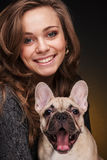 Beautiful Girl With French Bulldog Puppy Stock Photo