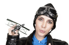 Beautiful Girl With Helmet And Goggles Royalty Free Stock Photos