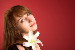 Beautiful Girl With Orchid, Lot Of Copy-space Royalty Free Stock Photos