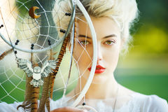 Free Beautiful Girl With The Dream Catcher Stock Photography - 82948102