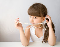 Beautiful Girl With White Pearl Bead Royalty Free Stock Photo