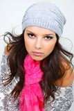Beautiful girl in wither clothes stock photos