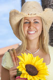 Beautiful Girl Woman Straw Hat & Sunflowers Stock Photography